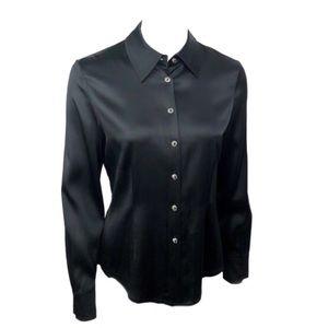 St. John Silk Charmeuse Button Down Shirt Size 4
